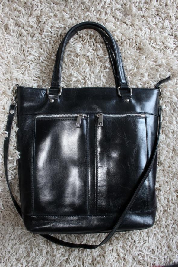 ff13387e2732e Torebki na co dzień torba torebka czarna skórzana skóra naturalna shopper  bag suwaki