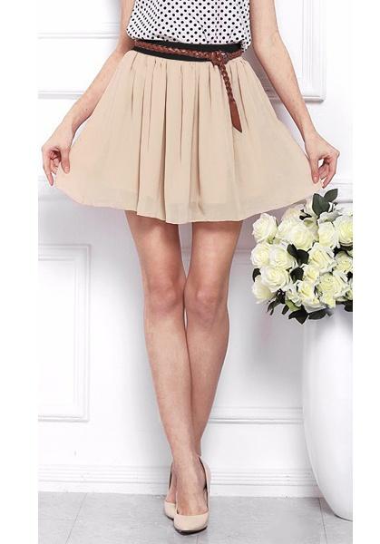 Spódnice Szyfonowa spódnicza mini nude rozmiar uni S L