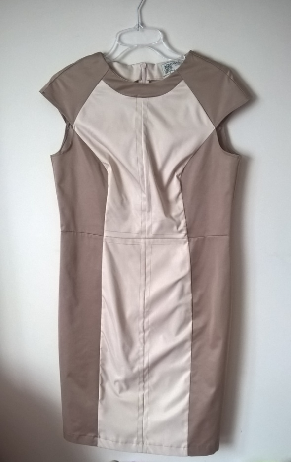 sukienka beżowa kawowa prosty fason elegancka 42XL