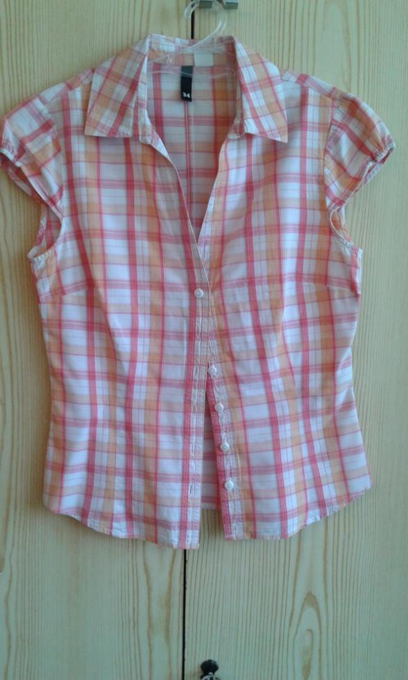 64706fcf1f2078 Pomarańczowa koszula w kratkę z kołnierzykiem HM 34 XS w Koszule ...