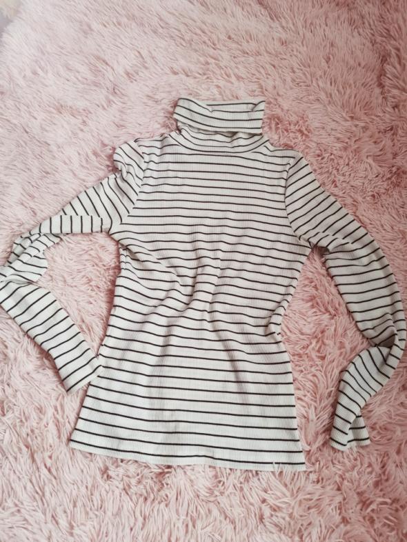 Golf paski New Look 40 bez wad stripes bluzka biel black jesień