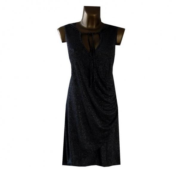 Francuska Błyszcząca Czarna Tunika Sukienka 42 XL w Suknie i
