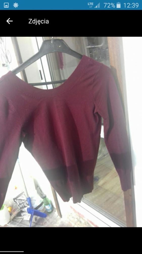 Bordowy sweterek ozdobne plecy...