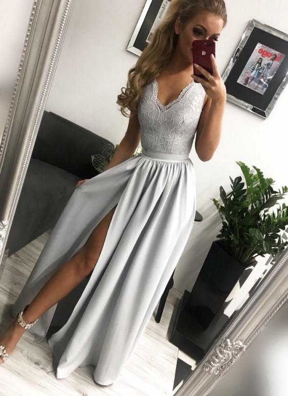 Szara maxi sukienka glamour