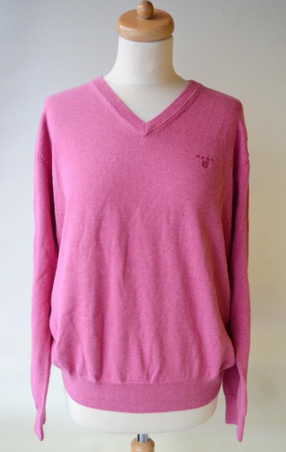 Sweter Gant Różowy Róż L 40 Serek Męski Men