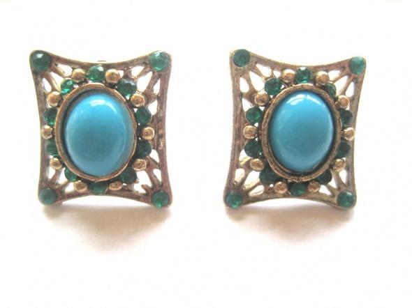 kolczyki zielone niebieskie orientalne prostokąty