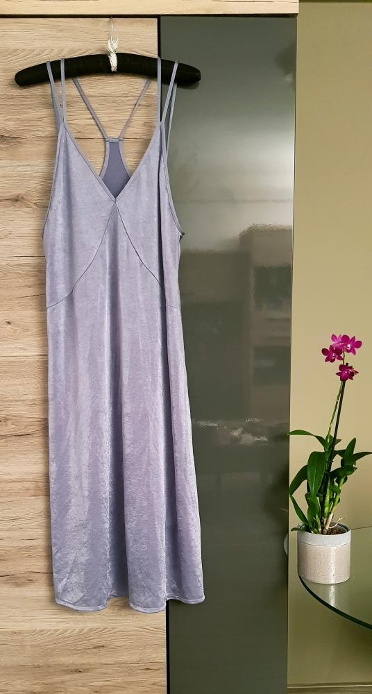 ZARA Trafaluc M L srebrna sukienka glamour vintage...