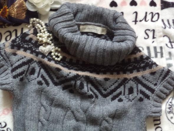 Tunika sweter golf Zara warkocze skandynawska M
