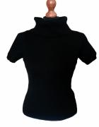 Nowy z metką golf komin sweterek z krótkim rękawem czarny S M...