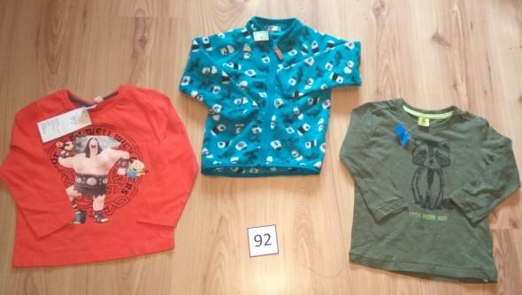 Bluzki Nowy komplet 2 bluzki z długim rękawem i bluza 92 Minionki polar
