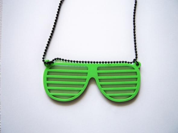Naszyjnik z okularami nerd SIX neonowy zielony