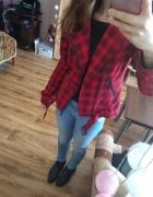 cqa Ramoneska płaszcz kurtka czarnoczerwona w kratke