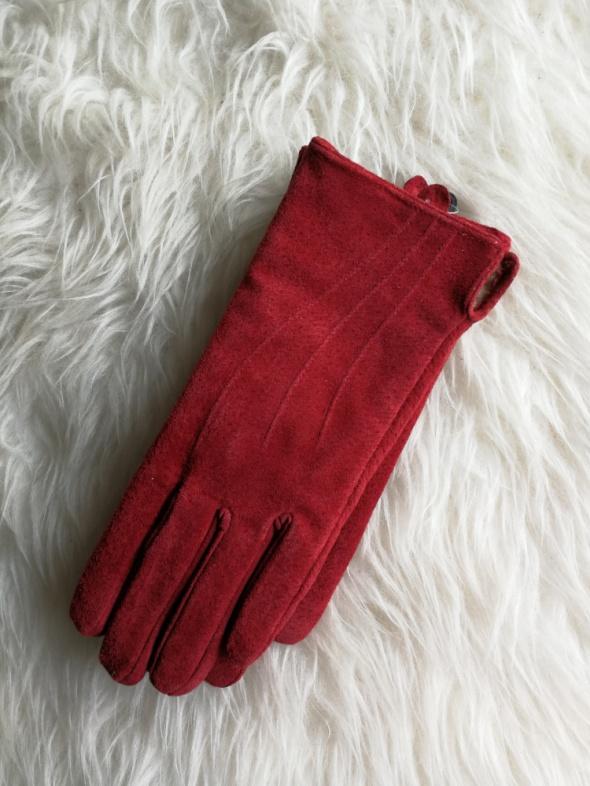 rękawiczki skóra naturalna kolor czerwony