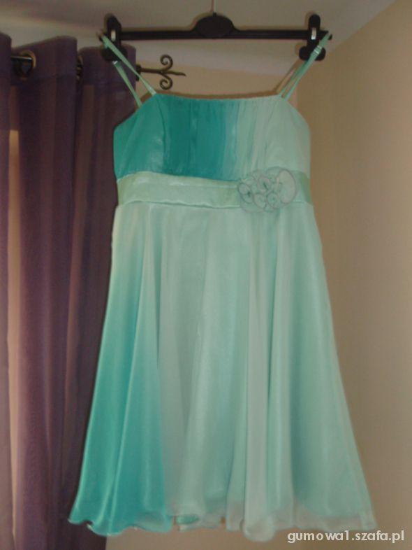 Przepiękna mietowo niebieska sukienka