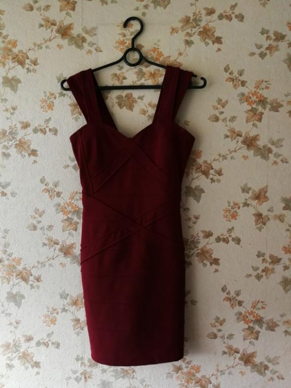 sukienka chemistry 34 w kolorze marsala