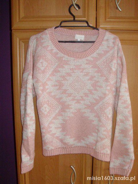 Sweter pink aztec oversize cream XL