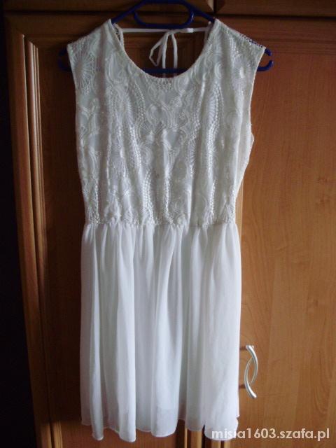 Sukienka koronka lace biała 40 gołe plecy white