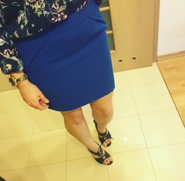 Forever21 kobaltowa spódnica tulipan s m...