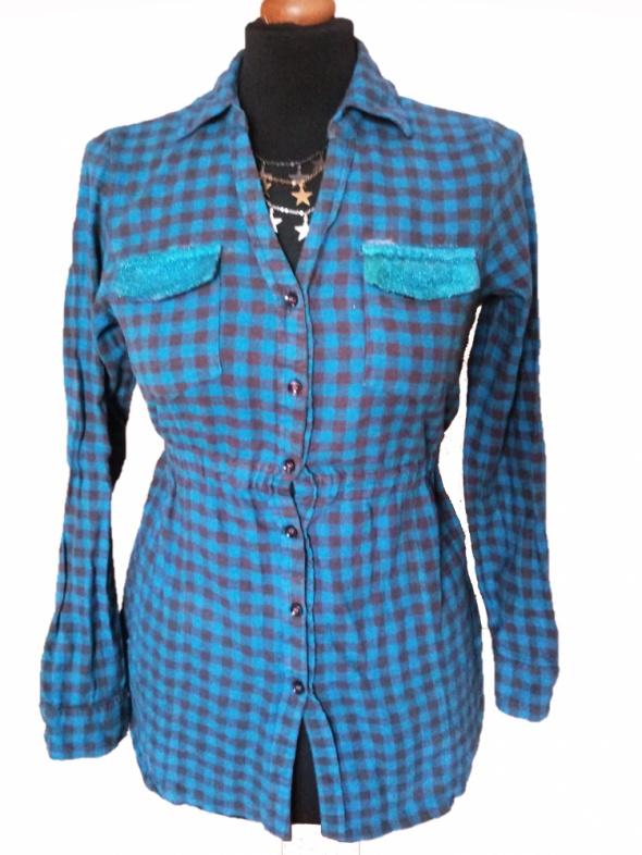 2988d874a Flanelowa taliowana koszula w kratę brokat kieszenie M L w Koszule ...