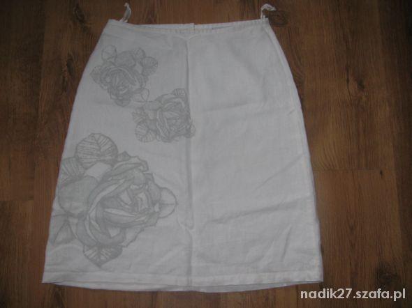 Śliczna spódnica lniana biała roz 38...