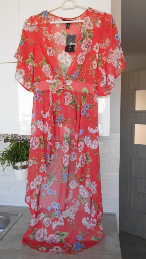 Top New Look nowe kimono floral narzutka mgiełka kwiaty boho