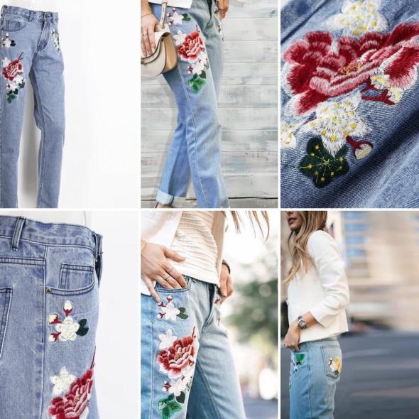 7d8f6cb4 Niesamowite spodnie z haftem kwiaty w Spodnie - Szafa.pl