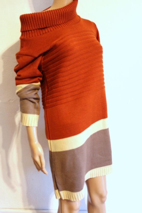 Beżowo ceglasty sweter sukienka dzianinowa r uniwersalny...