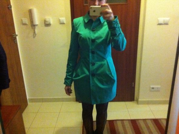Płaszcz płaszczyk jesienny wiosenny XS S M zielony...