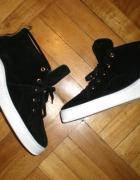 hudson london 40 wysokie czarne sneakersy skóra naturalna złoto...
