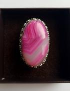 Nowy duży pierścionek vintage agat botswana różowy fuksja 22