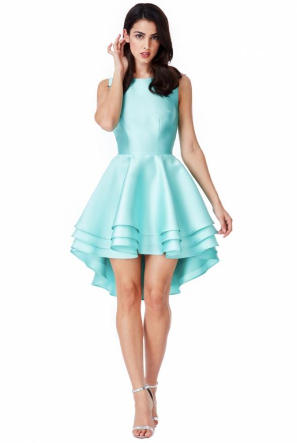 Suknie i sukienki Asymetryczna miętowa sukienka na wesele