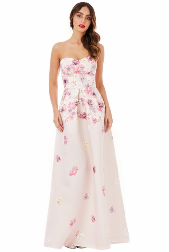 Długa gorsetowa sukienka w kwiaty pudrowy róż