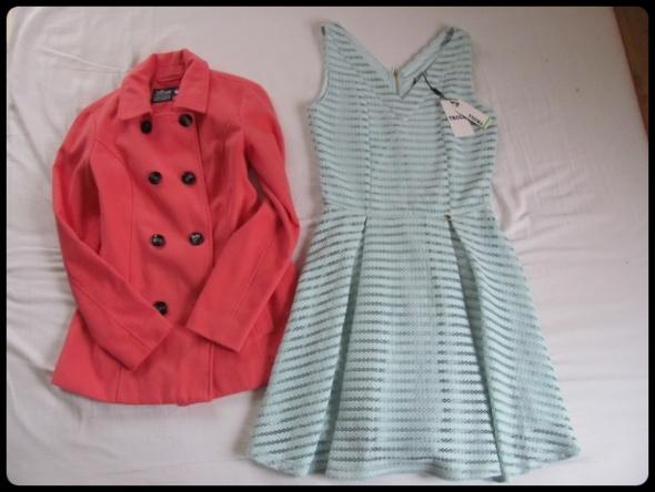Elegancki zestaw NOWA sukienka Troll i płaszcz 36 38