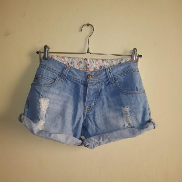 Krótkie spodenki szorty jeans przetarcia podwijane S Denim Co