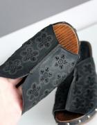 czarne klapki sandałki lato dżety ćwieki lekkie wygodne obcas k...
