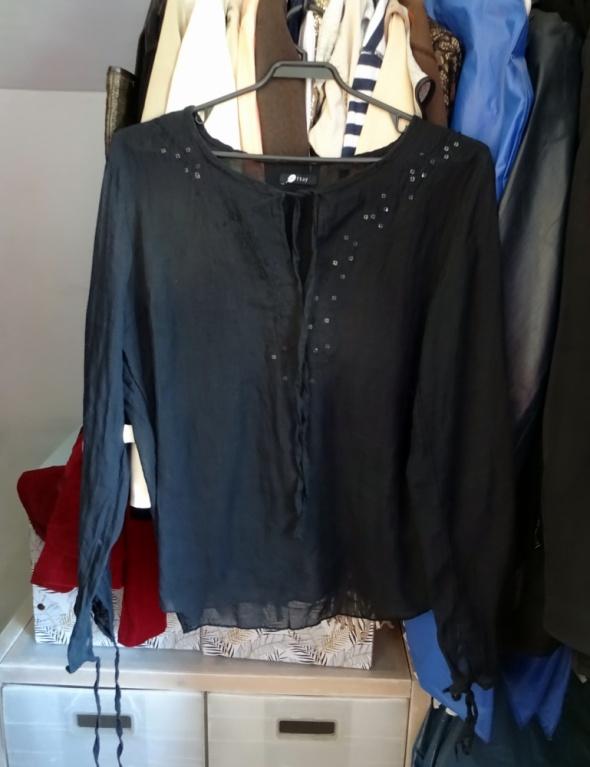 Transparentna czarna bluzka Orsay długi rękaw z cekinami