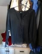 Transparentna czarna bluzka Orsay długi rękaw z cekinami...