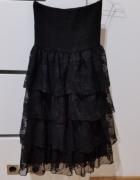 ZARA S 36 czarna sukienka koronka koronkowa...