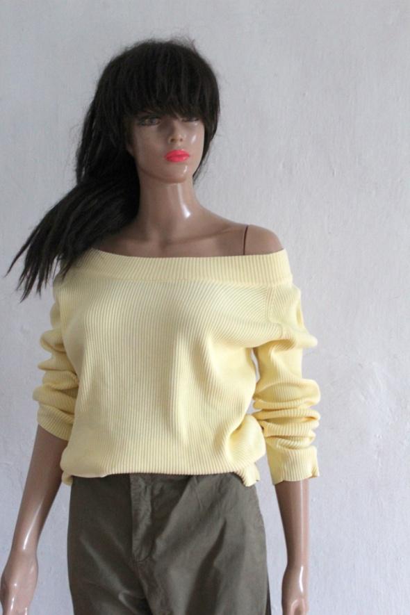 Jasnożółty prążkowany sweterek bluzeczka r M...