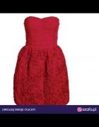Sukienka H&M Garden Róże Gorsetowa czerwona...