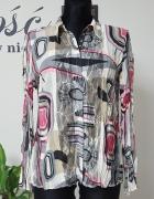 kolorowa gnieciona koszula z koronką Taifun...