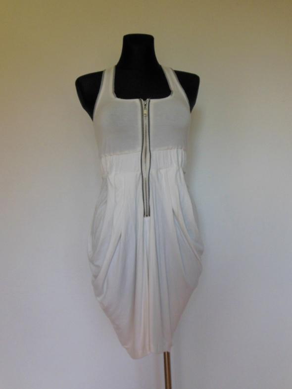 Lucca Couture biała sukienka zip 36 bombka...