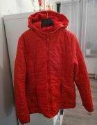 zimowa czerwona pikowana kurtka...