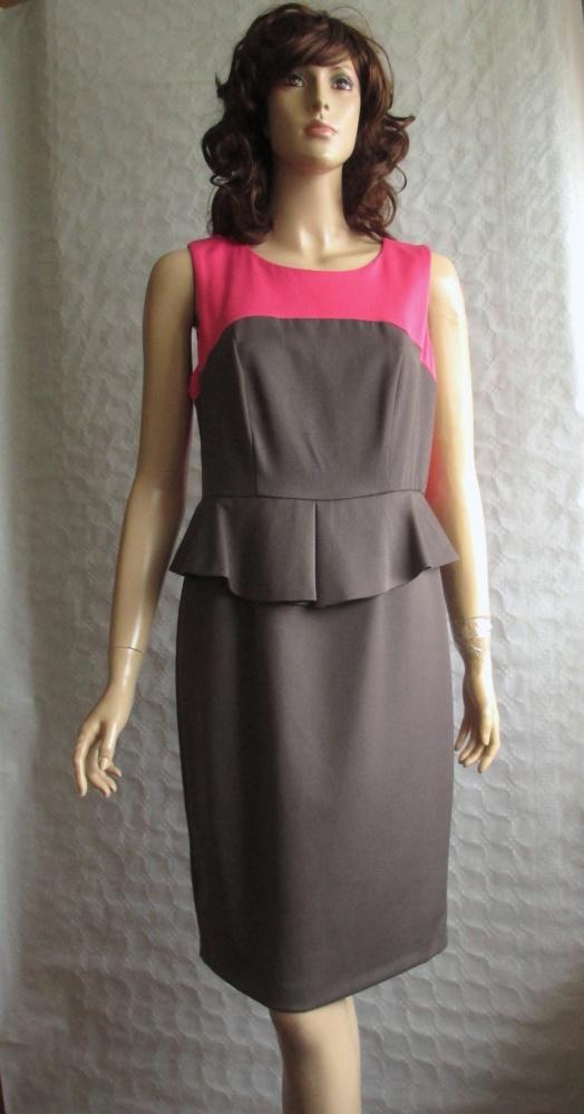 NEXT nowa sukienka baskinka szara róż ołówkowa 40