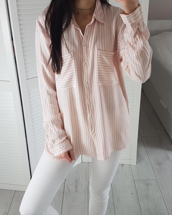 Jacqueline de yong M koszula w paski biało pudrowe