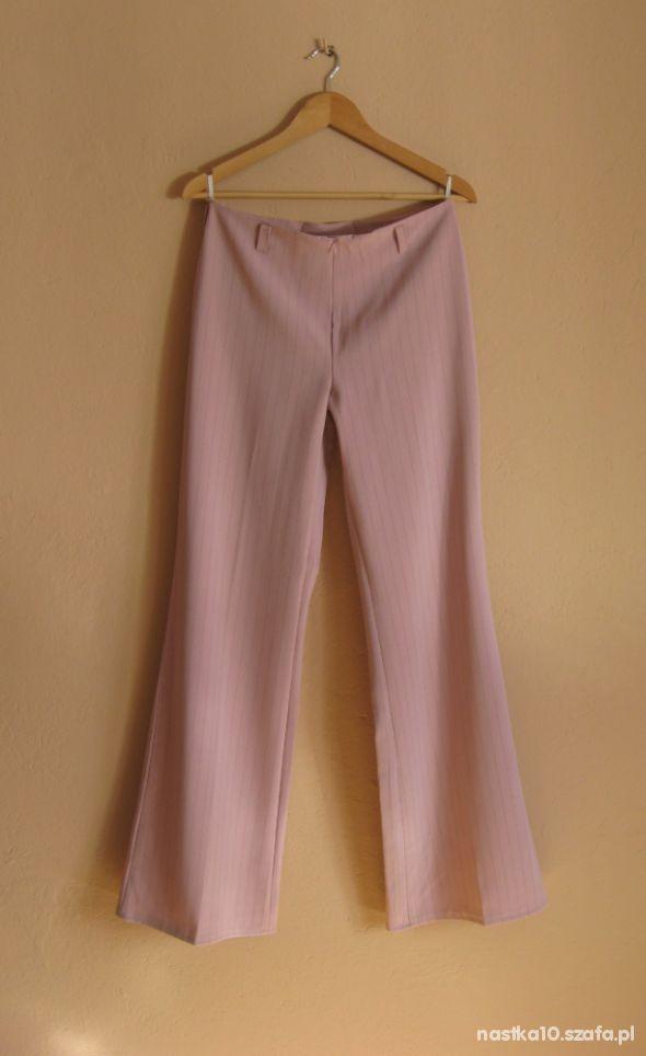 Eleganckie spodnie w kantke PUDROWY RÓŻ NOWE 42