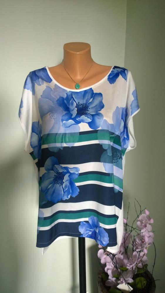 bluzka kwiaty paski 44 46