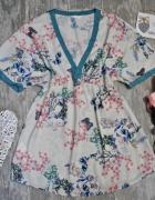 Promod Zwiewna Bluzka Tunika Kimono Floral Kwiaty Motylek Dekol...