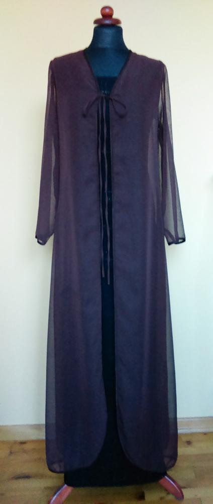 Wieczorowy szyfonowy płaszcz ciemny brąz mgiełka sylwester wesele