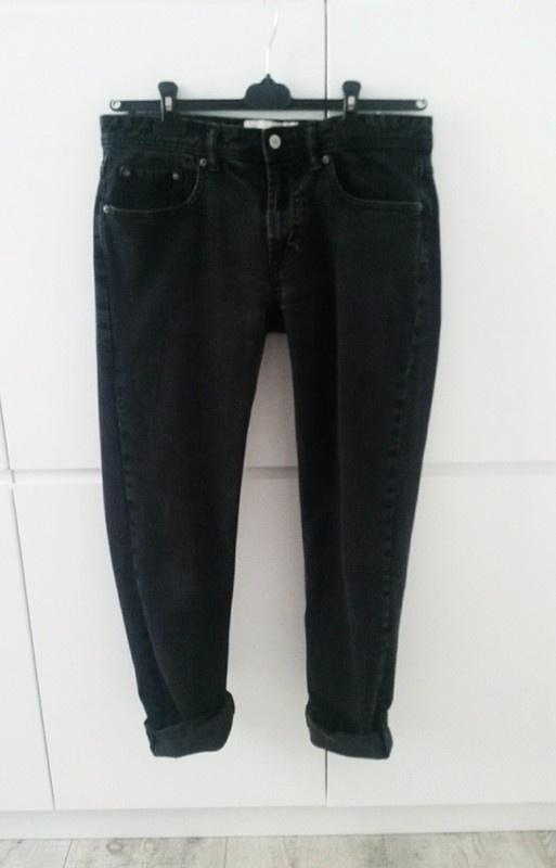 Czarne klasyczne spodnie jeansowe bawelniane oversize blogerskie